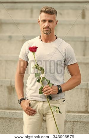 Life Is Too Short To Live Without Love. Man Mature Well Groomed Macho Wait For His Darling. Handsome