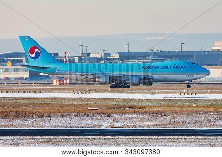 Frankfurt / Germany - December 8, 2012: Korean Air Boeing 747-400 Hl7603 Cargo Plane Taxiing At Fran