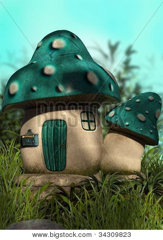 Blue Mushroom House Pre Made Background