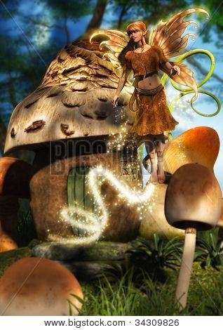 Fairy Flying From Mushroom House