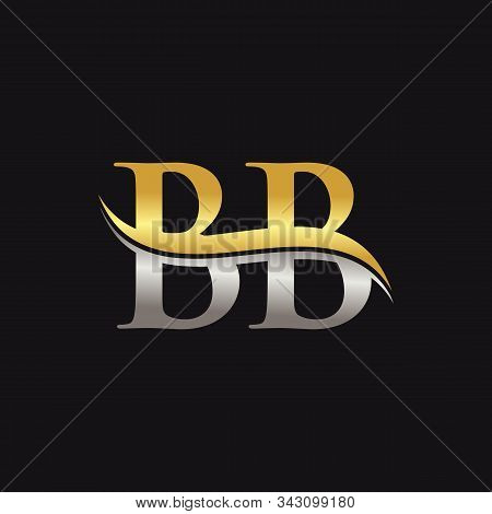 Initial Gold And Silver Letter Bb Logo Design With Black Background. Bb Logo Design.
