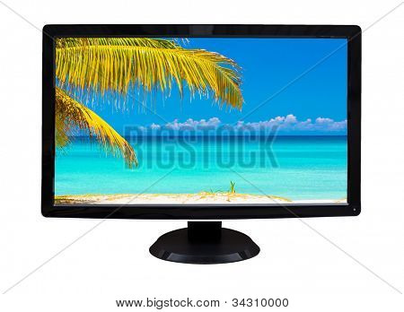 TV or computer monitor showing an image of a beautiful tropical beach (isolated on white)
