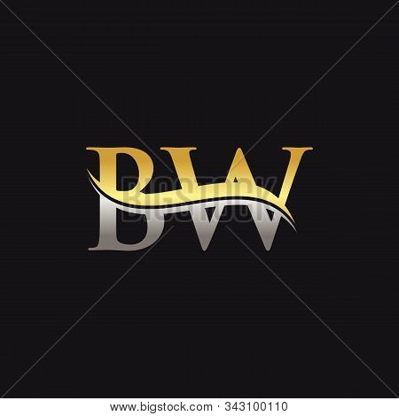Initial Gold And Silver Letter Bw Logo Design With Black Background. Bw Logo Design.