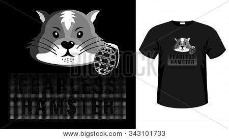 Head Fearless Hamster Print Shirt Cartoon Picture.