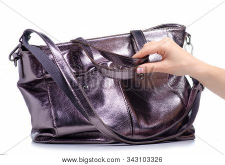 Woman Silver Leather Bag In Hand On White Background Isolation