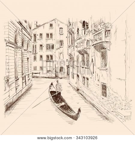 Scenery Of The Old City Of Venice. Landscape With Canal, Old Buildings And A Boat. Pencil Sketch.