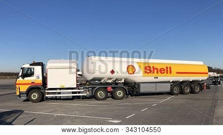 Eindhoven, The Netherlands - December 30, 2019: Shell Aviation Gasoline Truck Against A Clear Blue S