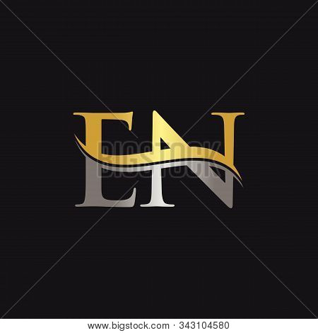 Initial En Letter Linked Logo Business Vector Template. Swoosh Letter En Logo Design