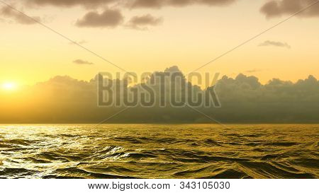 Horizon Of The Sea At Sunset In The Atlantic