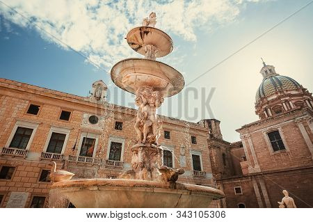 Palermo, Italy: Landmark From 16th Century, Praetorian Fountain With Figures And Antique Sculptures
