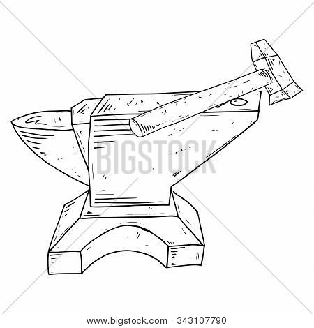 Hammer And Anvil Icon. Vector Illustration Of An Anvil With A Hammer. Hand Drawn Hammer And Anvil To
