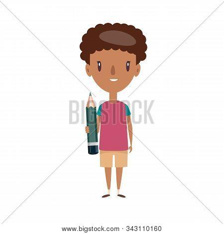 Smiling Schoolboy. Cheerful Elementary School Student, Kindergarten Pupil Cartoon Character. Flat Ve