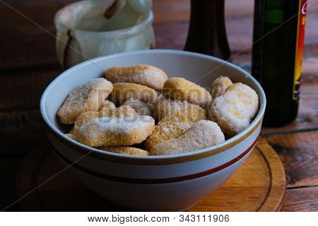 Chicken Nuggets Composition On A Wooden Background
