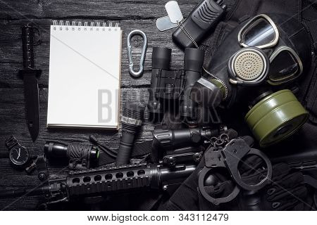 Military Equipment List Mock Up. Army Diary. Special Agent Table Concept Flat Lay Background With Co