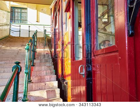 San Sebastian, Spain - December 30, 2019. Wooden Carriage Of The Funicular, The Touristic Transport