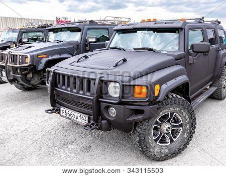 Samara, Russia - May 18, 2019: Black Luxury Hummer Cars Parking At The City Street
