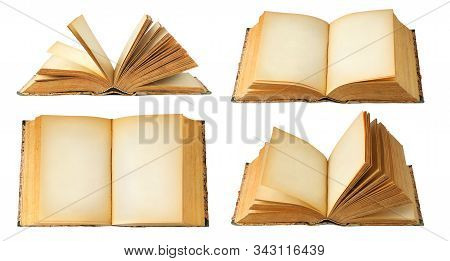 Isolated Books With Copy Space. Collection Of Open Old Books With Blank Pages Isolated On White Back