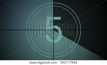 Film Vintage Countdown Number 5. Movie Film Strip With Countdown Number On Grunge Background. 2d Ani