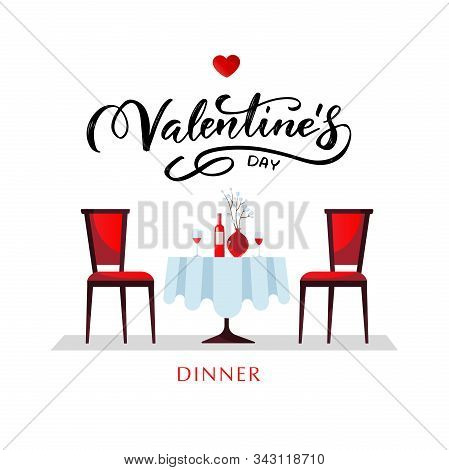 Romantic Dinner For Valentines Day. A Table With A White Tablecloth, Served With Glasses, Wine And P