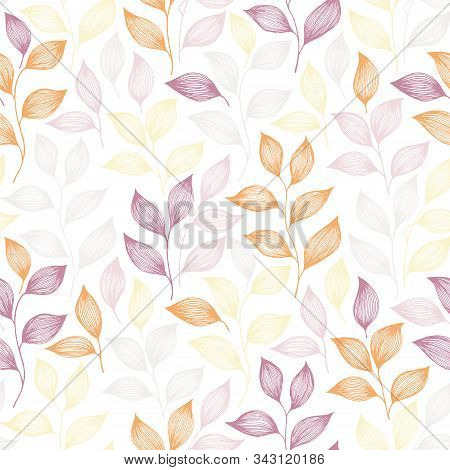 Wrapping Tea Leaves Pattern Seamless Vector. Minimal Tea Plant Bush Leaves Floral Fabric Ornament. H