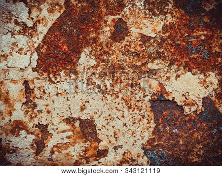 Brown, Black And Orange Rust And Dirt On White Enamel. Rusted Brown And White Abstract Texture. Corr