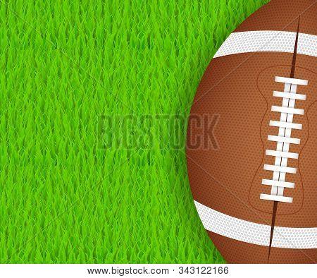 American Football Ball On Green Grass. Vector Stock Illustration