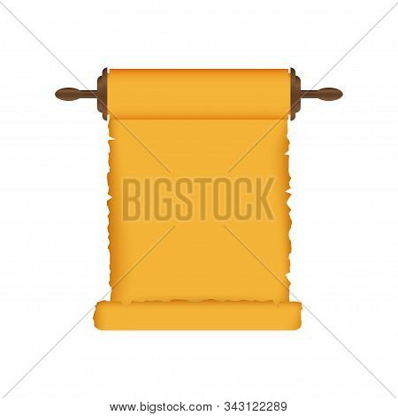 Rolled Old Papyrus File Mockup. Realistic Illustration Of Rolled Old Papyrus File. Vector Illustrati
