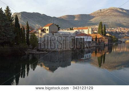 View Of Trebisnjica River (it Is One Of The Longest Sinking Rivers In The World ) Near Old Town Of T