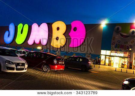 V Jumbo Shopping Mall. Toy Store. Big Sign, Greek Brand, Logo Of Jumbo Store In Bucharest, Romania,