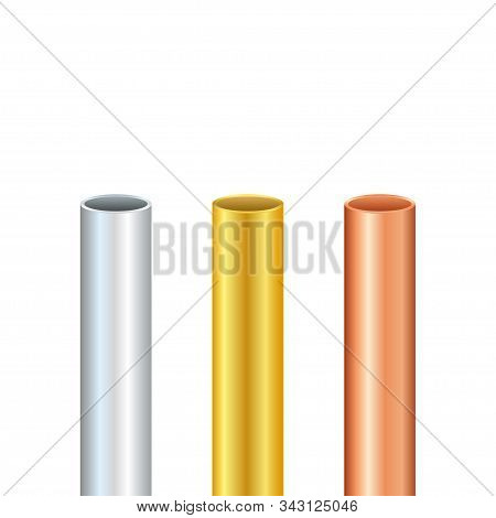 Pipe Set. Steel, Copper, Gold Tubes. Steel Or Aluminum, Pipes Of Different Diameters. Vector Stock I
