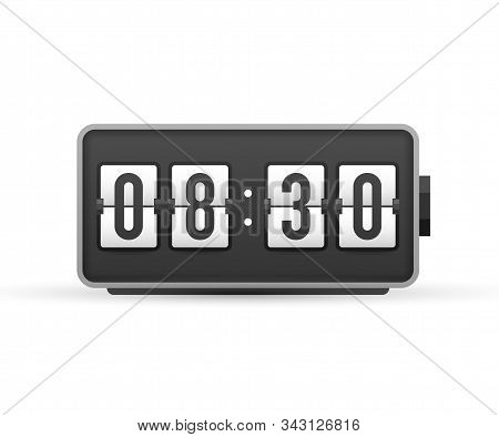 Countdown. Wall Flap Clock, Number Counter Template. Vector Stock Illustration.