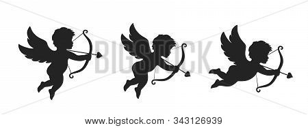 Cupid Icon Set. Love And Valentines Day Symbol. Cupid Shooting Arrow. Isolated Vector Black Silhouet