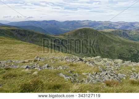 View West From Rampsgill Head Over Deepdale Towards Fairfield (873m Left), St Sunday Crag (841m) The