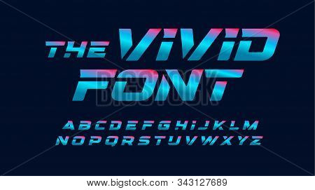 Vivid Cyberpunk Letters Set. Blue And Pink Highlighted, Italic And Bold Style Alphabet. Modern Color