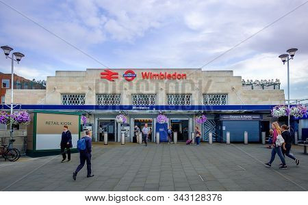 London, U.k, Aug 2019, Facade Of Wimbledon Station, England