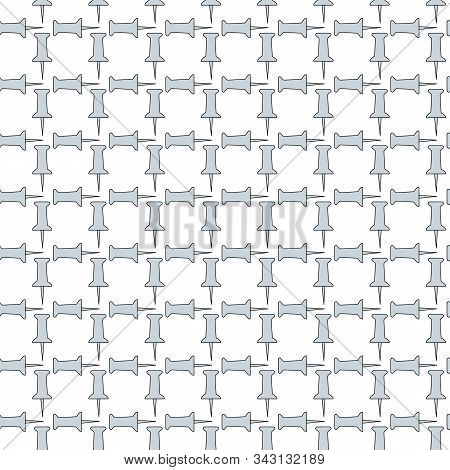 Vector Gray Tacks Grid On White Background Seamless Repeat Pattern. Background For Textiles, Cards,
