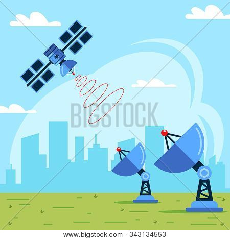 Receiving A Signal From A Satellite. Data Transmission From Space. Flat Vector Illustration.