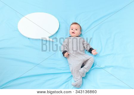 Baby Talking With Speech Bubble Learning Language