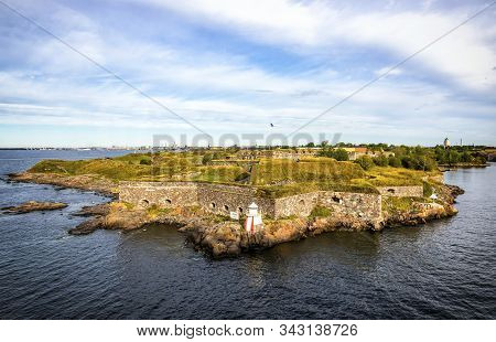 Bastions Of Finnish Fortress Suomenlinna (or Swedish Name Sveaborg) At The Coast Of Baltic Sea Near
