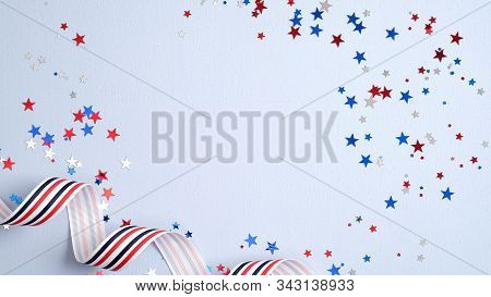 Independence Day Usa Banner Mockup With Confetti And Ribbon. Usa Presidents Day, American Labor Day,