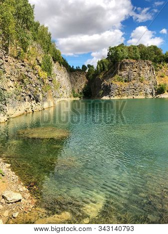 Flooded Quarry And Dive Site. Famous Location For Fresh Water Divers And Leisure Attraction. Quarry