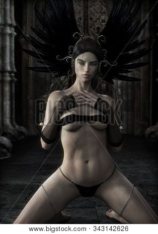 Queen Of The Vampires.portrait Of A  Sexy Alluring Mythical Female Posing In Front Of Her Fortress .