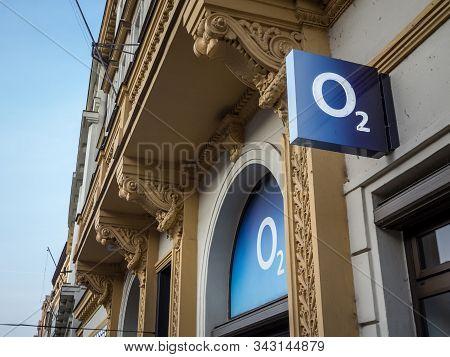 Prague, Czechia - October 31, 2019:  O2 Logo On Their Prague Main Shop. O2 Is One Of The Main Phone