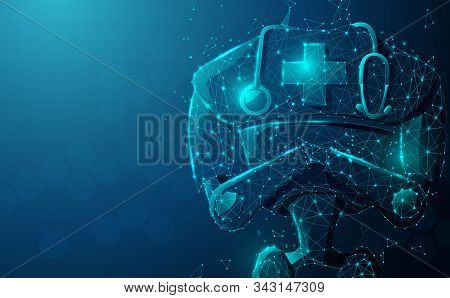 Close Up Of Robot Doctor With Stethoscope.  Artificial Intelligence, Ai. Modern Medical Technologies