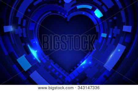 Abstract Geometric Technology Digital Hi Tech Background. Happy Valentines Day Concept