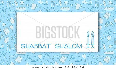 Shabbat Blue Background With Copy Space. Star Of David, Candles, Kiddush Cup And Challah. Hebrew Tex