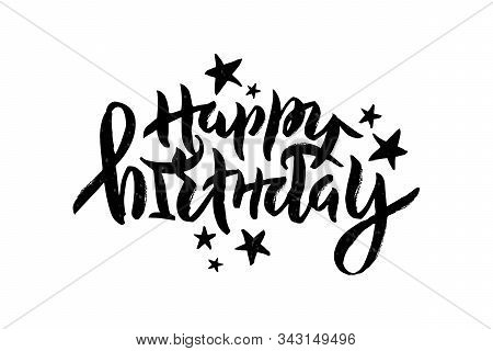 Vector Stock Illustration Of Happy Birthday Inscription With Stars For Greeting Card, Invitation. Br