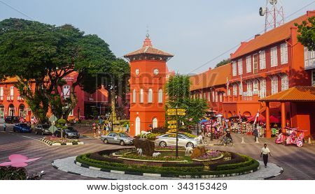 Malacca, Malaysia - Aug 18, 2014. Day View Of Christ Church & Dutch Square In Malacca, Malaysia. Mel