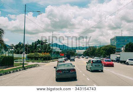 Penang, Malaysia - Aug 21, 2014. Street Of Penang, Malaysia. Penang Is Both An Island And A Province