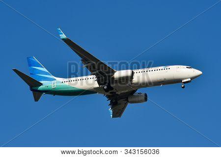 Bangkok, Thailand - Apr 21, 2018. Pk-gna Garuda Indonesia Boeing 737-800 Landing At Suvarnabhumi Air